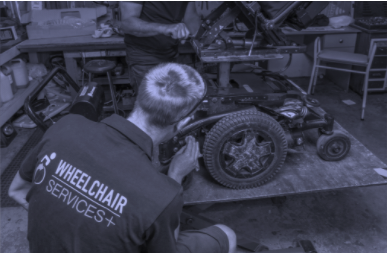 man servicing and repairing a mobility product